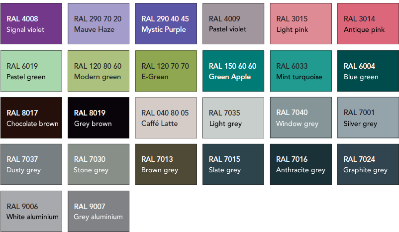 Design radiators - RAl colours