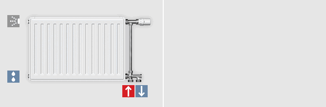 Compact radiator single-pipe connection