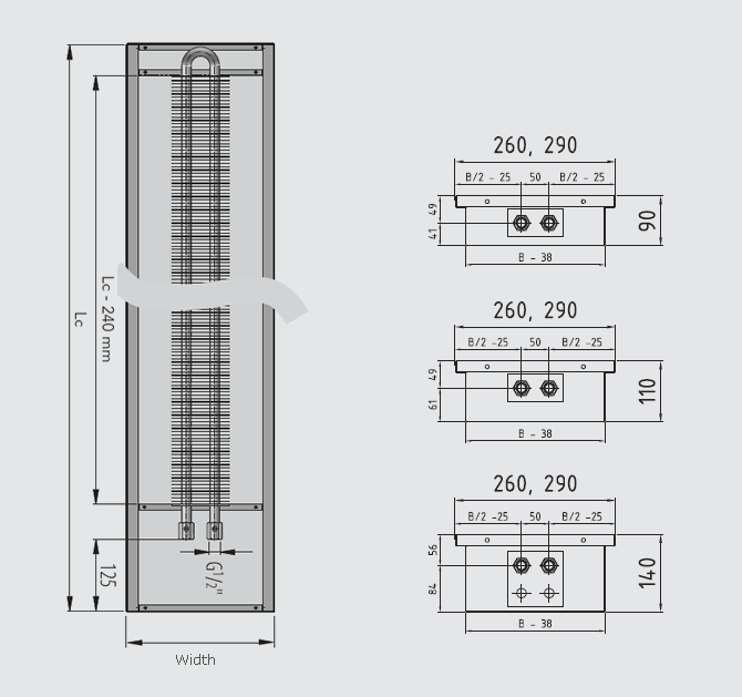 Dimensions at 260 and 290 mm