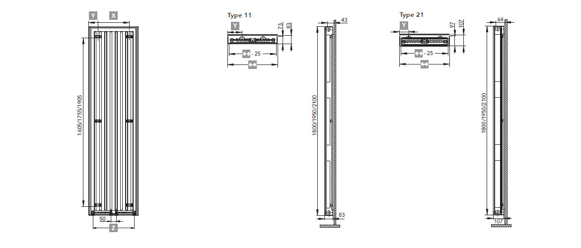 Design radiator TARA dimensions